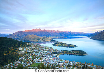 Queenstown New Zealand Sunset - Aerial Cityscape View of...