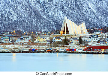 Tromso Cityscape Arctic Cathedral - Tromso Cityscape with...