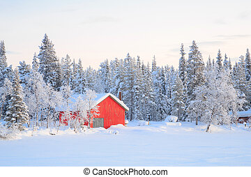 Winter landscape Kiruna Sweden - Winter landscape with house...
