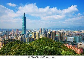 Taipei Skyline - Taipei, Taiwan skyline viewed during the...