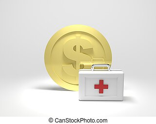 Dollar Aid - 3d render illustration of gold dollar coin with...