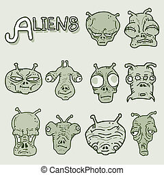 Aliens faces artistic - Creative design of aliens faces...