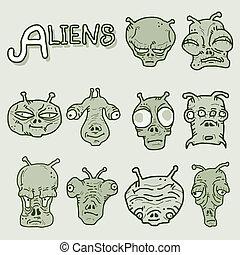 Aliens faces artistic - Creative design of aliens faces...