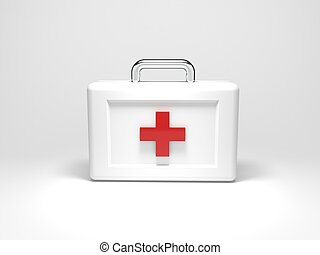 First Aid - 3d render illustration of a first aid kit.