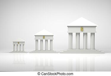 Banks - 3d render illustration of bank symbols with a gold...