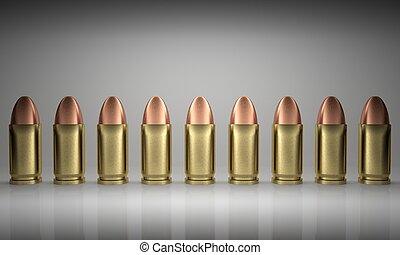 Bullets Line Up - 3d render illustration of bullets lined...