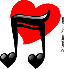 Heart music love - Creative design of heart music love