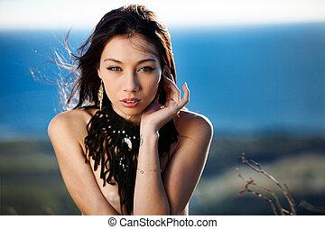 Outdoor beauty - Beautiful Eurasian model outdoors