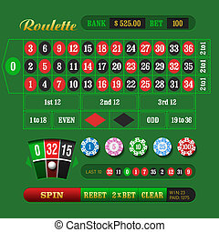 European Roulette Online - Vector illustration