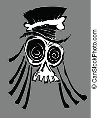 Voodoo Skull - Illustration of a voodoo skull