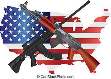 Assault Rifles with USA Map Flag Illustration - Assault...
