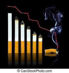 With each cigarette graph of your life steeper to end Stop...