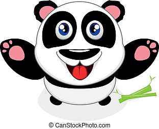 Happy Baby Panda Laughing - Vector Illustration Of Happy...