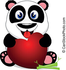 Happy Baby Panda With Heart - Vector Illustration Of Happy...