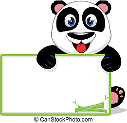 Happy Baby Panda With Blank sign - Vector Illustration Of...