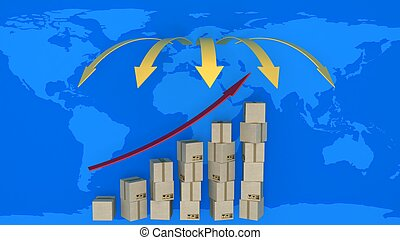 Diagram of increasing exports in world trade. 3d concept of...