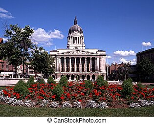 Council House & gardens, Nottingham - Council House with red...