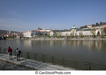 Prague - Czech Government, Hradcany Castle and Vltava River