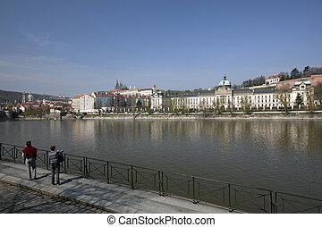 Prague - Czech Government, Hradcany Castle and Vltava River