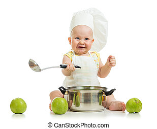 funny adorable baby with green apples isolated on white...