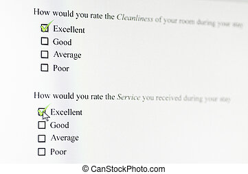 Excellent ranking in online survey - A user rates various...
