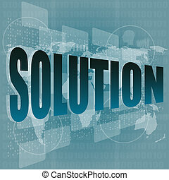 solution word button on a touch screen interface