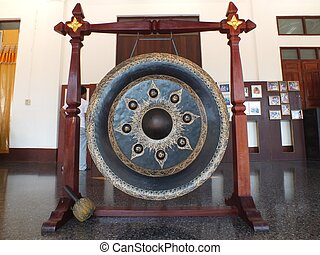 gong - big Gong at mon temple in sangkhlaburi kanchanaburi...