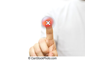 Finger pressing a red cross button