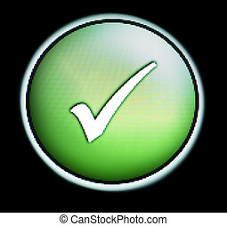 Green button with TICK