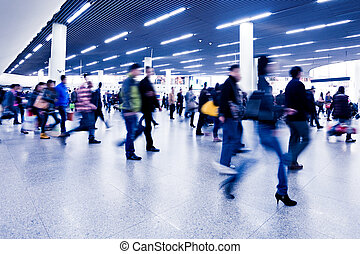 Passenger in the subway station in Shanghai