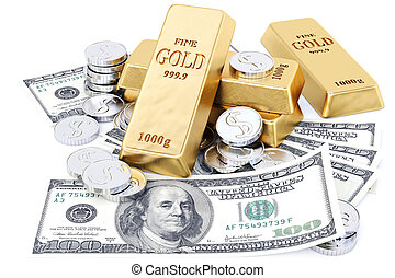 bullion - gold bars, coins and paper money. isolated on...