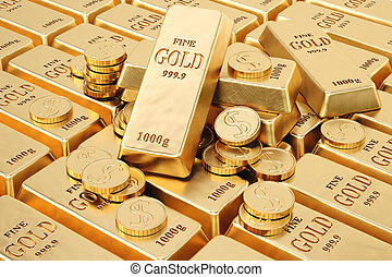 bullion - gold bars and gold coins.