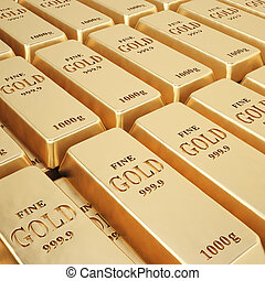 bullion - rows of gold bars.
