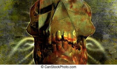 Skull - Devil - Animation on Halloween - skull in a crypt
