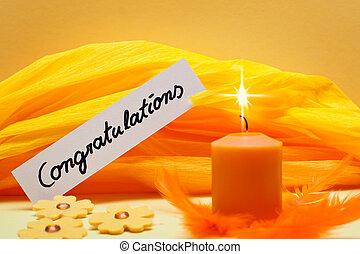 jaune, fond, bouclier, félicitations