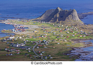 Town on Lofoten - Aerial view of picturesque town Sorland on...