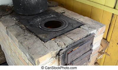 firewood burn fire stove - retro vintage old rural country...