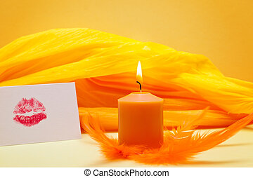 orange background with romantic kiss mouth - yellow...
