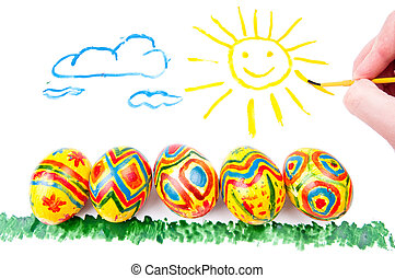 Child's picture by a water-colour: five easter eggs on a...