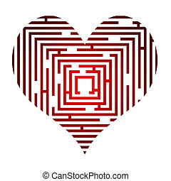 maze in the heart - Abstract vector illustration of the maze...