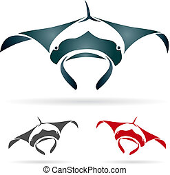 Vector image of an stingray on white background