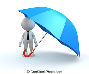 Umbrella - 3d people - man, person with a blue umbrella.