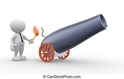 Cannon - 3d people - man, person with a cannon . Gunner