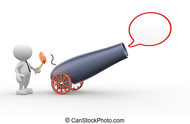 Cannon - 3d people - man, person with a cannon and a blank...