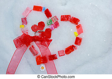 Mosiac of glass hearts on snow - Valentine heart Colorful...