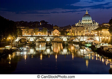 Romantic Rome - Picturesque view of St Peters Basilica from...
