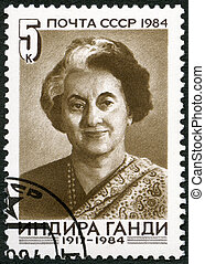 USSR - CIRCA 1984 : A stamp printed in USSR shows Indira...