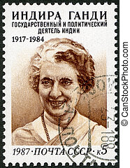 USSR - CIRCA 1987 : A stamp printed in USSR shows Indira...