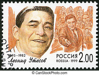 RUSSIA - CIRCA 1999: A stamp printed in Russia shows Leonid...