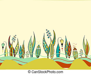 Retro colourful floral abstract border